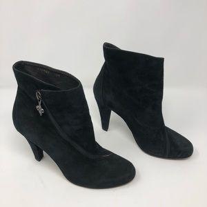 Donald J. Pliner Black Suede Dugan Zip Ankle Boots